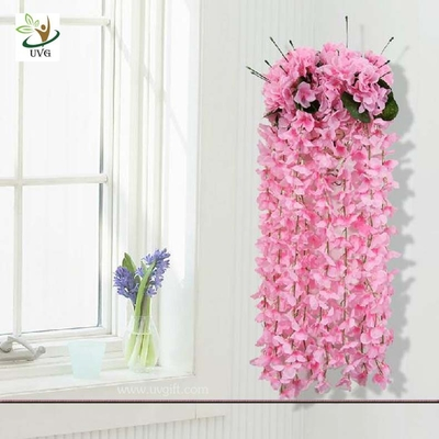 China UVG High Quality Artificial Wisteria Flowers Wedding Shelf Hanging Flower Arrangement supplier