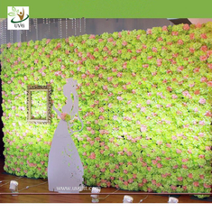 China UVG artificial rose and hydrangea flower wall for wedding stage backdrop decoration and luxury floral design supplier