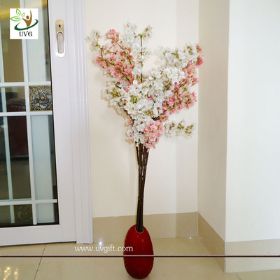 China UVG Pink plastic tree branches in silk cherry blossom for wedding decoration centerpieces supplier