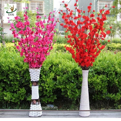 China UVG CHR099 Wedding decoration materials artificial peach blossom branch with fabric flower supplier
