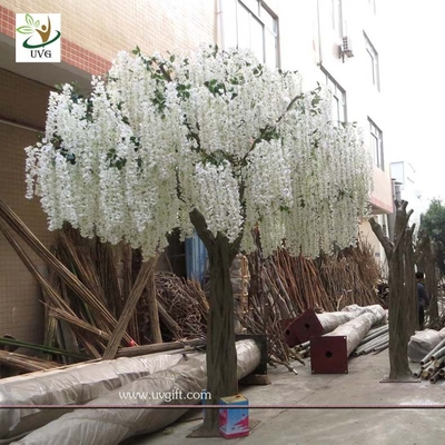 China UVG 13ft Big plastic artificial wisteria blossom tree with white silk flowers for weddings supplier