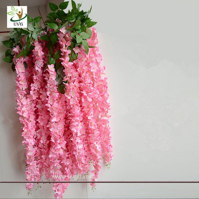 China UVG Latest wedding decoration fabric artificial flower making with pink wisteria vine supplier