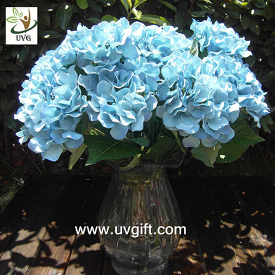 China UVG Blue 7 heads artificial cheap hydrangea fabric flowers wedding decoration centerpieces supplier