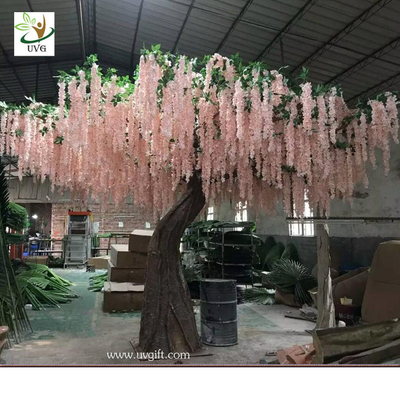 China UVG WIS007 6m pink huge silk wisteria blossom fake trees for weddings supplier