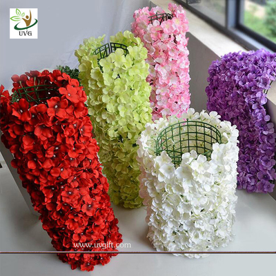 China UVG wall decoration flower backdrop in fake hydrangea petals for wedding backdrop ideas supplier