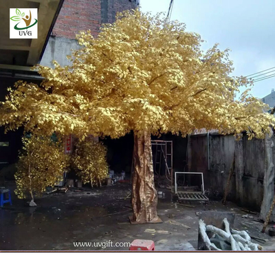 China UVG 4m tall living gold banyan leaves artificial trees for outdoors GRE056 supplier