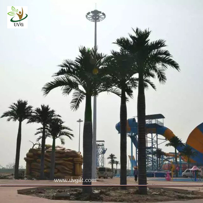 China UVG evergreen artificial coconut palm trees with silk leaves for outdoor theme park landscaping PTR059 supplier
