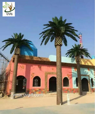 China UVG large glassfiber artificial palm tree outdoor with green silk leaves for water world decoration PTR060 supplier