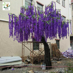 China UVG latest 17ft tall purple silk wisteria blossoms artificial flower trees for wedding stage decoration WIS018 supplier