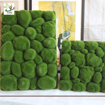 China UVG factory direct sale decorative flocking foam artificial moss in green for home garden landscap GRS038 supplier