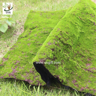 China UVG landscape decor accessories flocking artificial moss carpet garden synthetic grass mat for indoors use GRS041 supplier