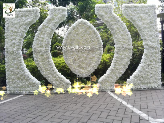 China UVG luxury dream wedding flower arch in artificial rose and hydrangea for stage backdrop decoration CHR1146 supplier