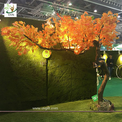 China UVG unique orange artificial maple tree with bent fiberglass trunk for indoor hall decoration GRE072 supplier