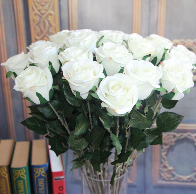 Uvg white artificial flowers wholesale real touch silk flower rose china uvg white artificial flowers wholesale real touch silk flower rose for party decoration supplier mightylinksfo