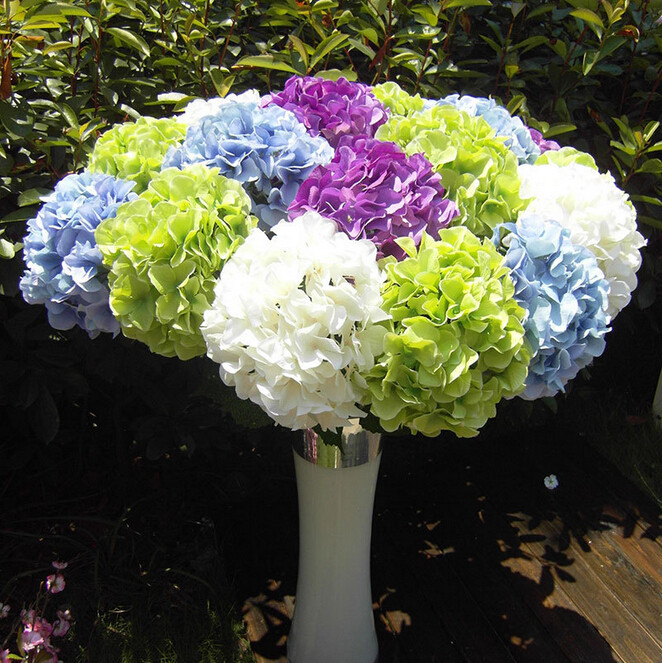 uvg wholesale silk flowers from china beauty artificial hydrangea ball wedding table decor. Black Bedroom Furniture Sets. Home Design Ideas