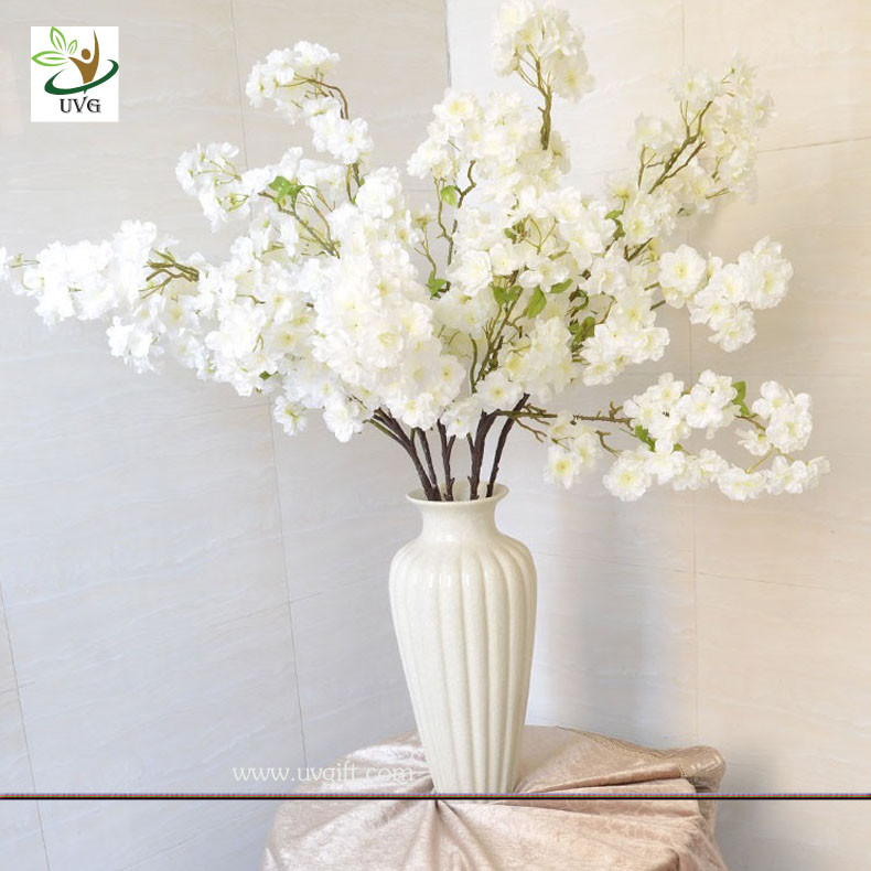 uvg 1m white artificial cherry blossom branches wholesale with silk flowers for weddings. Black Bedroom Furniture Sets. Home Design Ideas