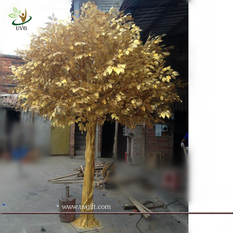 UVG GRE044 real looking indoor artificial trees with golden banyan ...