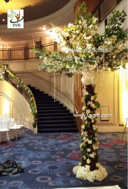 Uvg new design 3m white cherry blossom indoor artificial tree for china uvg new design 3m white cherry blossom indoor artificial tree for wedding decoration supplier junglespirit Image collections