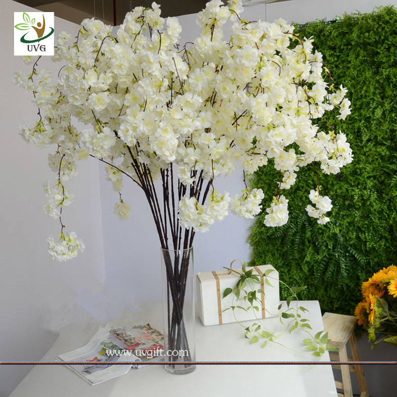 China UVG CHR129 White Cherry Blossom Branches Faux Silk Flowers For  Wedding Home Decoration Supplier