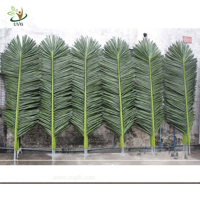 uvg wholesale outdoor ornaments plastic artificial palm tree leaves with green color. Black Bedroom Furniture Sets. Home Design Ideas