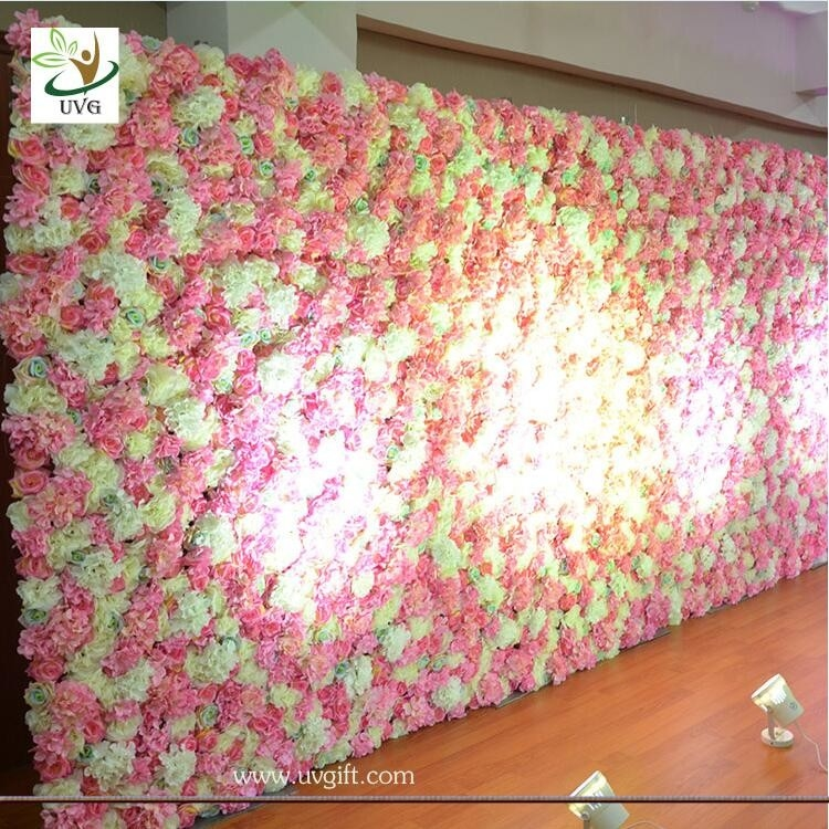 Uvg White Flower Wall Backdrop With Silk Rose And