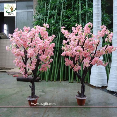 China UVG CHR043 Artificial Bonsai Tree with pink cherry flower for home garden decoration factory