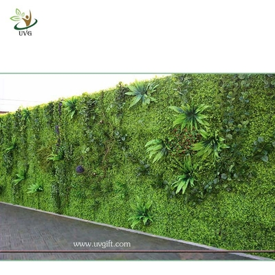 China UVG green leaf artificial grass wall with high imitation plants for outdoor decoration GRW01 factory