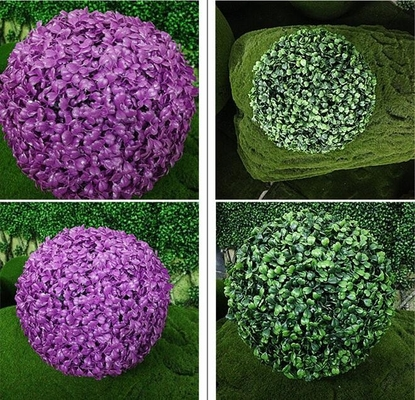 China UVG GR002 Purple Artificial Plants Topiary Plastic Boxwood Balls Garden decoration factory