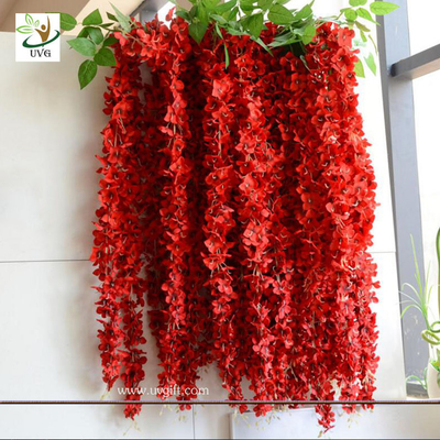 China UVG WIS006 Red artificial wisteria hanging wedding flower decoration imported from china factory