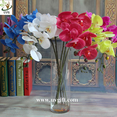 UVG Factory direct PU orchids artificial flower arrangements with vase for wedding bouquet