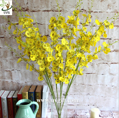 UVG Yellow decorative orchids plastic artificial flower factory for home garden decoration