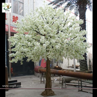 China UVG wedding stage decoration use indoor white artificial cherry blossom trees for sale CHR011 factory