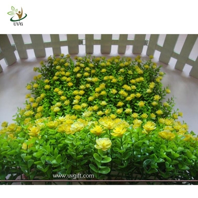 China UVG HGR02 new style artificial boxwood panel with plastic flowers for interior decoration factory