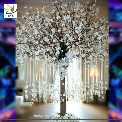 UVG Memory artificial wishing tree with white magnolia flower for Christmas decoration