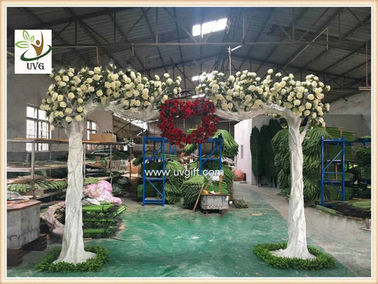 China UVG CHR139 white artificial flowering trees in silk rose branhces for party background decoration factory