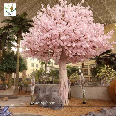 China UVG indoor cherry blossom artificial tree with pink flowers for Water World decoration CHR153 factory