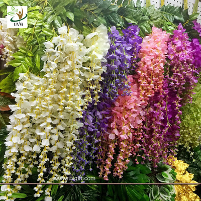 UVG 110cm faux floral arrangements long shoot wisteria silk flowers for wedding decoration WIS016