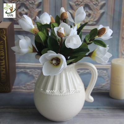 UVG white artificial magnolia silk wedding flowers for table center pieces decorations FMA56