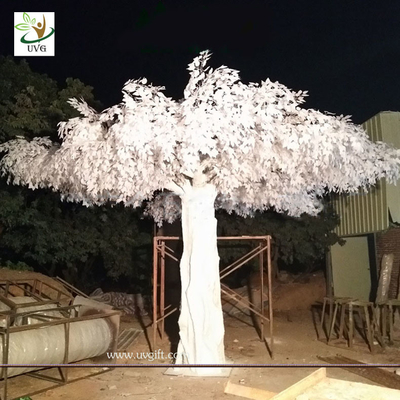 UVG 5.5 metres high huge white silk banyan artificial tree sale for window display GRE064