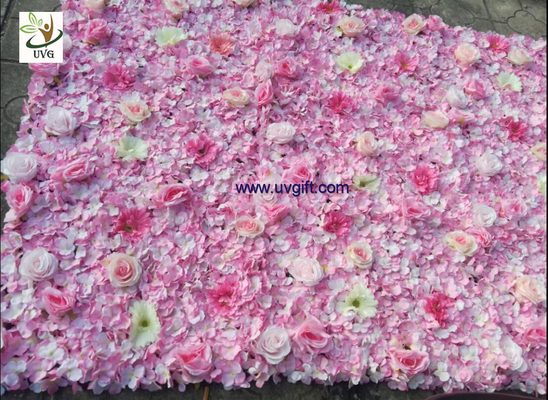 UVG pink hydrangea wedding flower wall for stage background decoration CHR1148