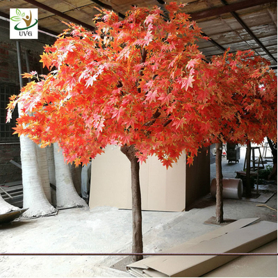 UVG romantic artificial red maple tree in silk leaves and wood trunk for indoor home decorative GRE070