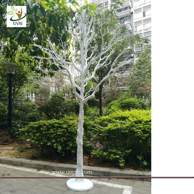 UVG white plastic model artificial trees with dry tree branches for christmas decoration DTR35