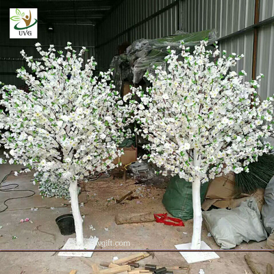 UVG white and pink small fake peach blossom centerpieces table trees for wedding hall decoration CHR169