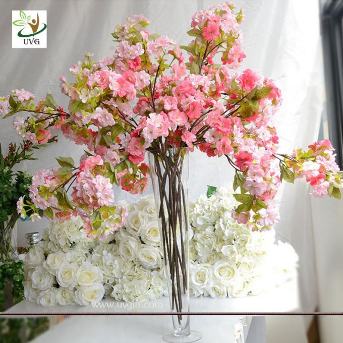 UVG Pink plastic tree branches in silk cherry blossom for wedding decoration centerpieces