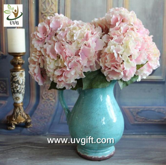 UVG FHY22 White decorative fabric flower artificial hydrangea for wedding table decoration