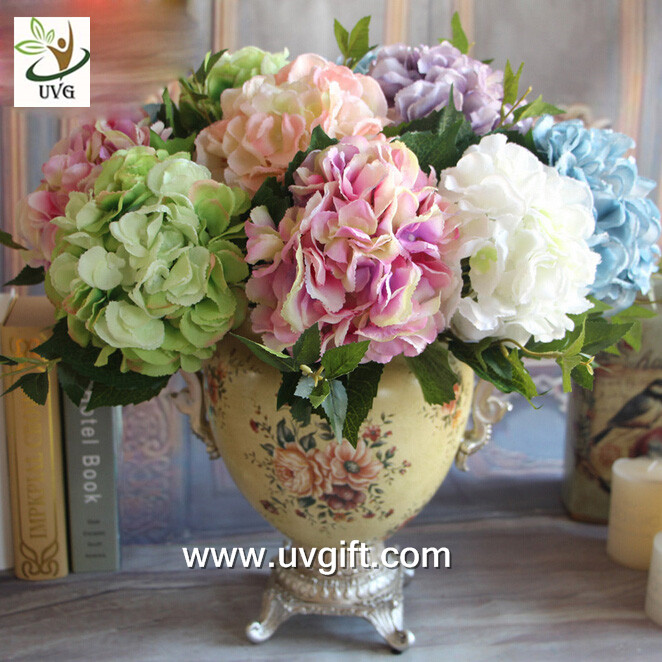 UVG FHY25 fabric artificial hortensia wholesale silk flower hydrangea for home decoration