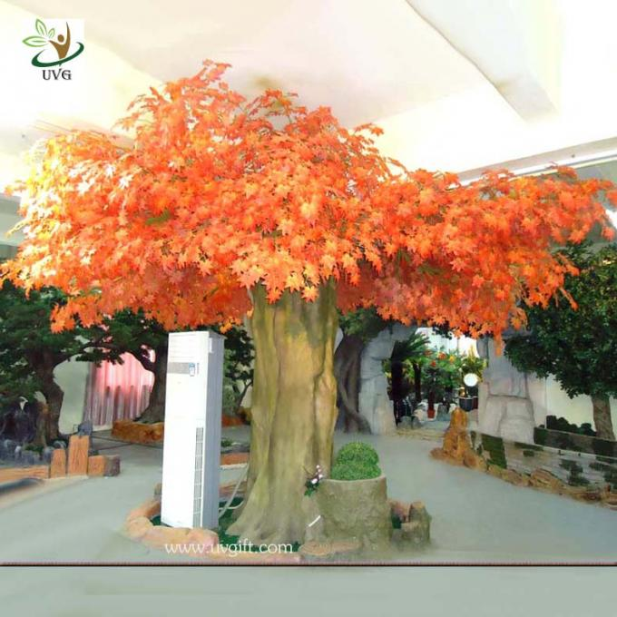 UVG 10ft orange large indoor artificial maple tree with hollow trunk for home decoration