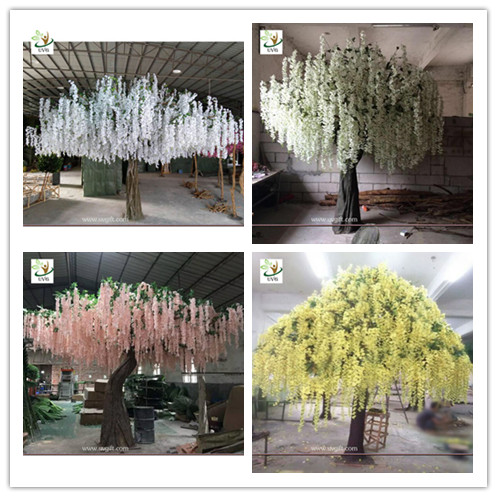 UVG yellow wisteria blossoms large artificial trees for birthday and party decoration