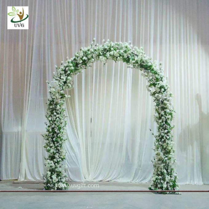 UVG 8ft white wedding arch in artificial cherry branches for theme decoration and floral design