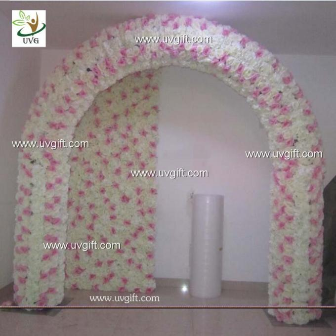 UVG 2.5 meters artificial rose and hydrangea wedding arch in silk flower head for event backdrops decor CHR1121